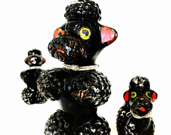 Vintage 50s poodle Set, Redware Japan 50s Poodle figurines, Ceramic Poodles, 1950s Poodle family, mom and babies chain, Retro Black Poodles