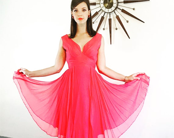 Vintage 60s Pink Dress, Melbray of London, 1960s Cocktail Dress, 60s chiffon dress, Midi party dress, fit & flare dress, MAD MEN Fashion
