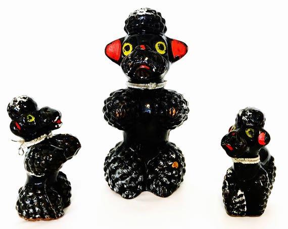 Vintage 50s poodles, 50s Poodle figurines, Ceramic Poodles, 1950s Poodle family, Poodle Mom & Two Babies, Retro Black Poodles, Redware Japan