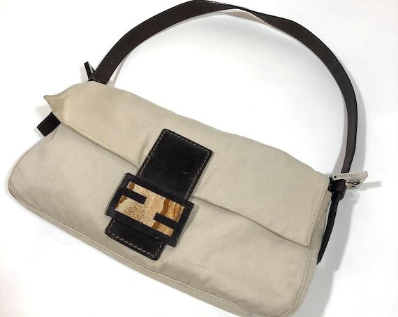 Authentic Fendi Cream Canvas Baguette Bag with Sandstone Buckle