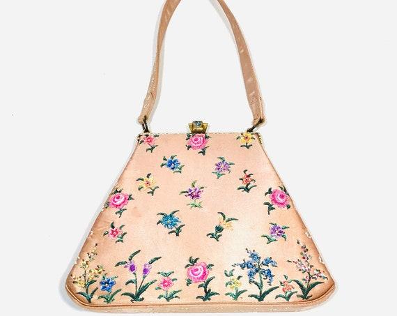 Vintage 1940s Waldybag, hand painted beaded satin bag, pink blush silk satin handbag, 40s top handle Purse, Waldy Bag H Wald & Co England