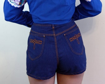 Vintage Volup Shorts, 70s SEARS shorts, 1970s jean shorts, Super High Rise Waist, Embroidered Pockets, Womens Denim Shorts, size XL L 10 12