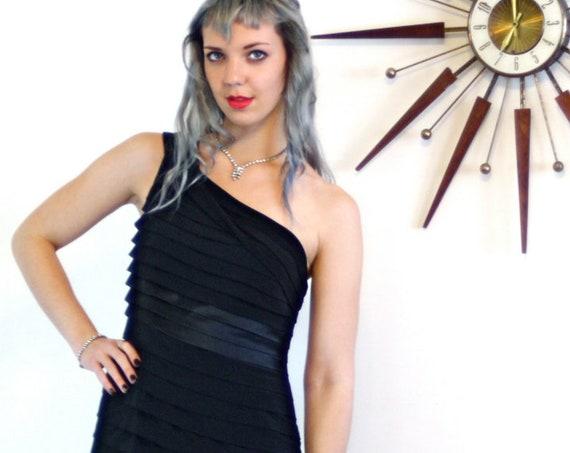 Black Pencil Dress, Sexy Evening Dress, One Shoulder Dress, Short LBD, Tight Fitted Slinky, Cocktail Party Dress, Little Black Dress, Sz 8 M
