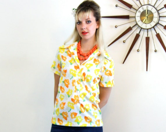 60s Mod Blouse, Vintage Flower Power Shirt, Short Sleeve Top, Bright Floral Yellow Orange Flower, Womens 1960s shirt, Big Butterfly Collar