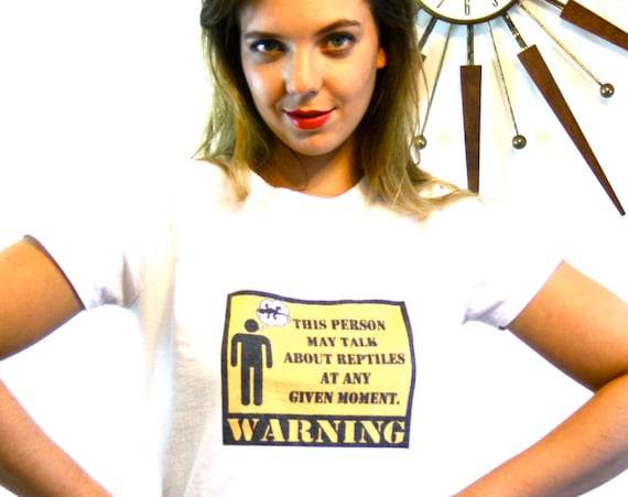 """Vintage 80s Reptile Lover's T-Shirt """"WARNING this person may talk about reptiles at any given moment"""" White Cotton Kid Tee Cute Funny Ironic"""