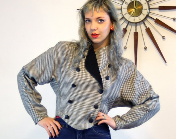 80s Cropped jacket, Black and White, Houndstooth blazer, Checker short coat, Batwing Sleeves, vintage 1980s jacket, Womens Blazer,80s ladies