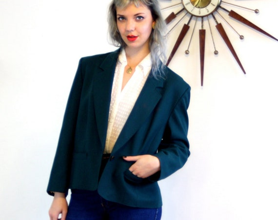 90s Boxy Blazer, Pendleton wool blazer, Oversized blazer, big womens jacket, dark forest green, Large womens blazer size 12