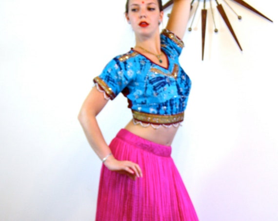Vintage Indian skirt, Belly Dance Skirt, Silk Gypsy Skirt, Pink Silk Skirt, Ethnic skirt, made in India, hot pink skirt, long full skirt