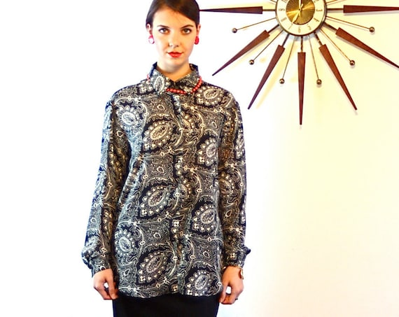 Vintage Paisley blouse, Diane Von Furstenberg, Blousey 80s Top, Black & White, Big Collar Shirt, Long Sleeve, Womens Button Down, 1980s DVF