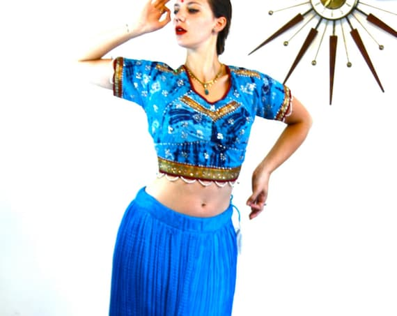 Vintage Indian Silk Gypsy Skirt/ Bright blue Silk Skirt/ Long Ethnic Bohemian Skirt/ Hippie Boho Belly Dance Skirt/ Electric Jewel Blue Silk