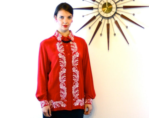 Red Silk Diane Von Furstenberg DVF Blouse, Embroidered Boxy Loose Fit Womens Long Sleeve shirt