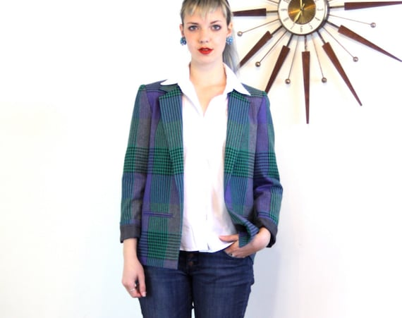 VINTAGE 80s blazer, Plaid Wool Jacket, 1980s Preppy blazer, 80s Womens jacket, Purple Teal, Boxy Shoulder Pad, Pastel plaid blazer, Ladies M