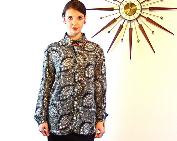 DVF 90s Oversized blouse, Vintage Paisley top, Diane Von Furstenberg Black & White Big Collar Shirt, Long Sleeve Womens Button Down