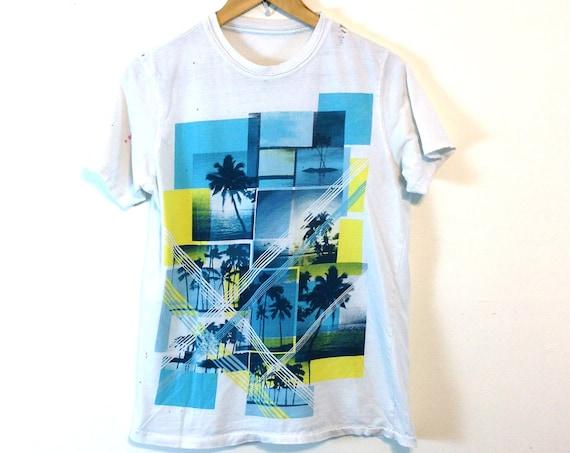 Thrashed t-shirt, 90s Surf shirt, Hawaiian Surfer tee, Distressed tee, White Cotton tee, Youth Tween boys tee, Vintage 90s tee, Women's Sz S