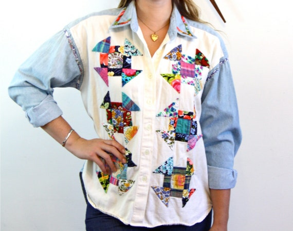 Vintage 70s Patchwork Denim Shirt Faded Blue Jean Button Down Pinwheel Patches Stitched Western Long Sleeve 1970s Southwest Chambray Top