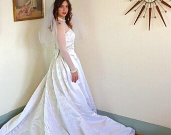 Modest Wedding Dress, Satin Wedding gown, Sheer Long sleeve, Beading and Lace, Pearl collar, Long Full Skirt,chapel train,Princess cut, 8 10