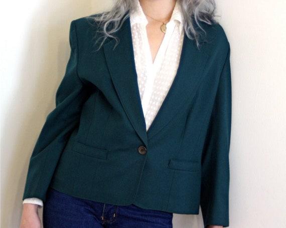 Vintage Pendleton wool blazer, 90s Boxy Blazer, Oversized blazer, big womens jacket, dark forest green, Large ladies blazer size 12 M L