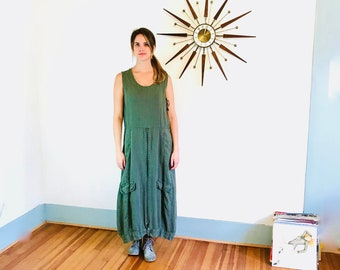 3ab5f9b12a4 Vintage 90s Linen Sack Dress Army Green Maxi Dress Smock Boxy Baggy Free  Style Industrial 1990s Sleeveless Long Tank Dress Metal zippers