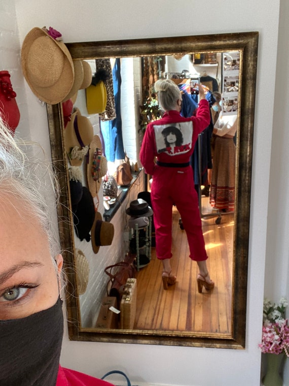 Vintage 70s Red Coveralls with T. Rex t-shirt Patc