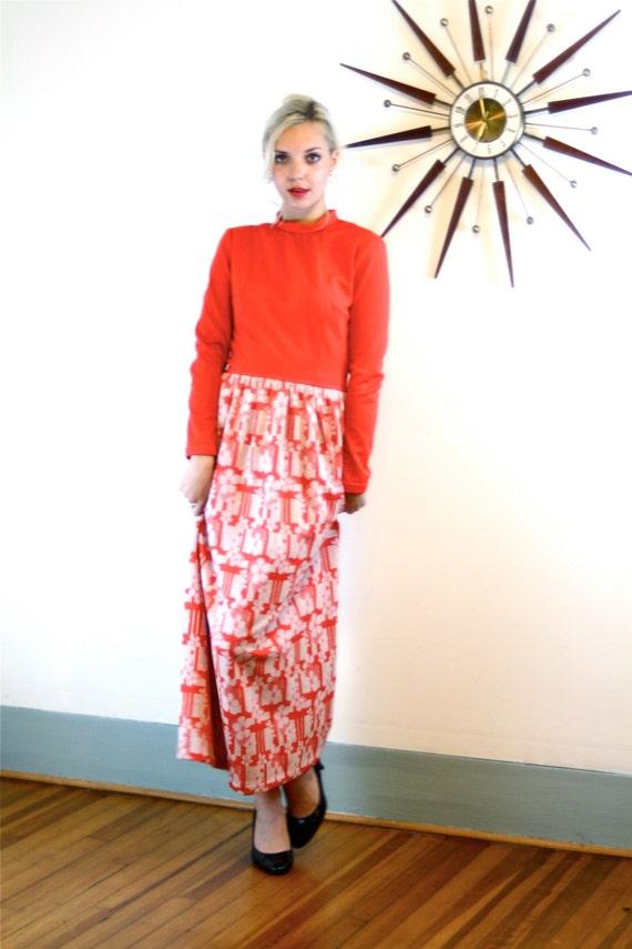 Vintage Maxi Dress, 1970s Maxi Dress, Bright Red Dress, 60s maxi dress, 70s maxi dress, Long Hippie Dress,MAD MEN dress, Long Sleeve Maxi, L