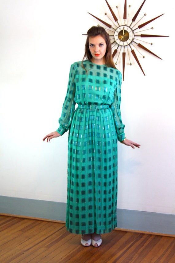 Vintage 60s dress, Emerald Green dress, 60s maxi dress, Nat Kaplan dress, 1960s MAD MEN, Cocktail hostess, Long silk dress, Jewel tone dress