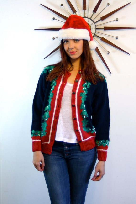 80s Christmas Sweater, ORVIS sweater, Navy Blue cardigan,Holly Leaf Silver Buttons,Cotton Knit cardigan,1980s Holiday Jumper, ugly christmas
