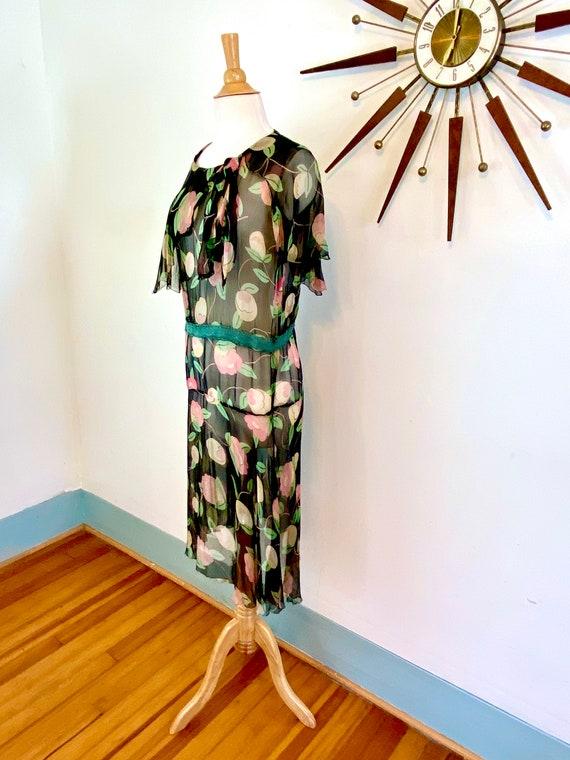 1930s floral silk chiffon dress, Vintage sheer 30… - image 3