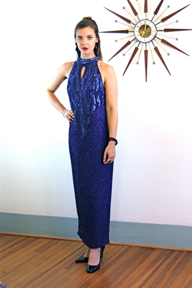 1847033d1e35 Long Pencil Dress Beaded Maxi dress 80s beaded dress Sexy | Etsy