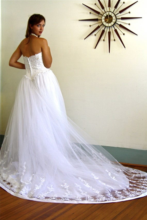 Vintage wedding gown, Strapless wedding dress, Ci… - image 3