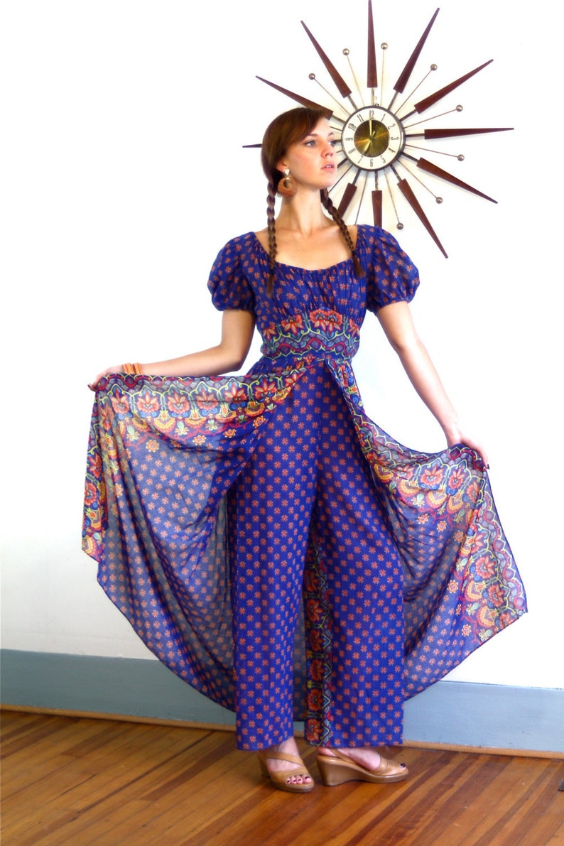 3e391b0974c7 70s Adini Kaftan Boho Romper Indian Hippie dress Gypsy