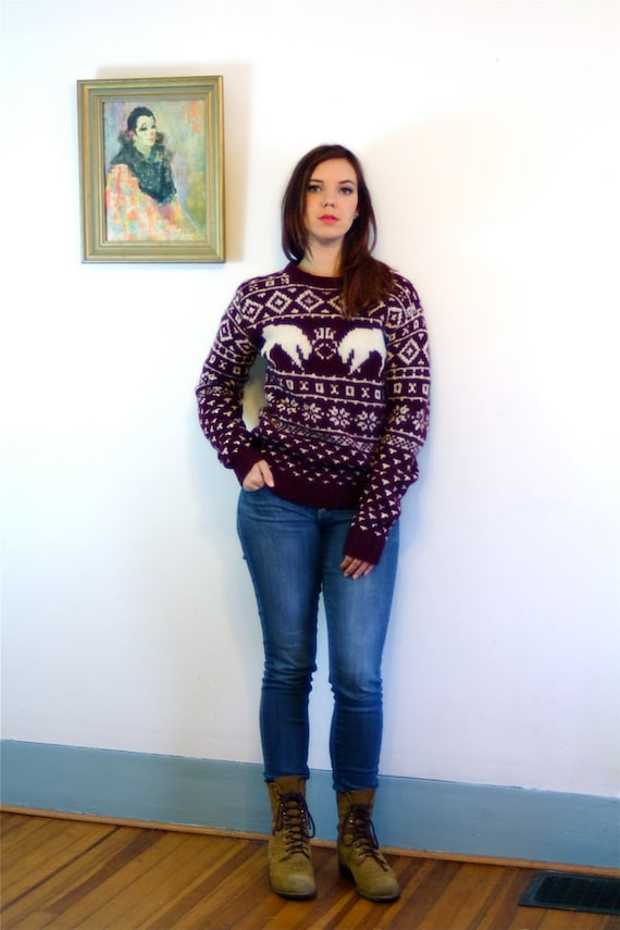Vintage 50s sweater, Christmas sweater, 1950s wool Pullover, Dark Red Oxblood,Holiday Jumper, B ALTMAN Co, Snowflakes Stags, 50s Ski Sweater