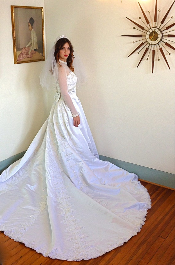 Modest Wedding Dress Satin Wedding gown Sheer Long sleeve | Etsy