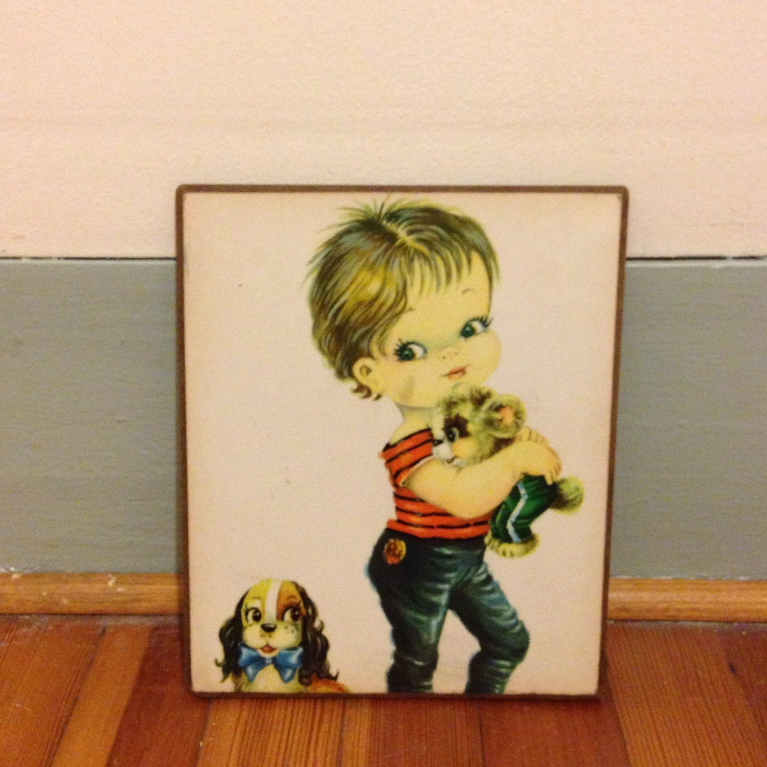 Vintage 50s print, rockabilly art, 50s wall plaque, big eyes print ...