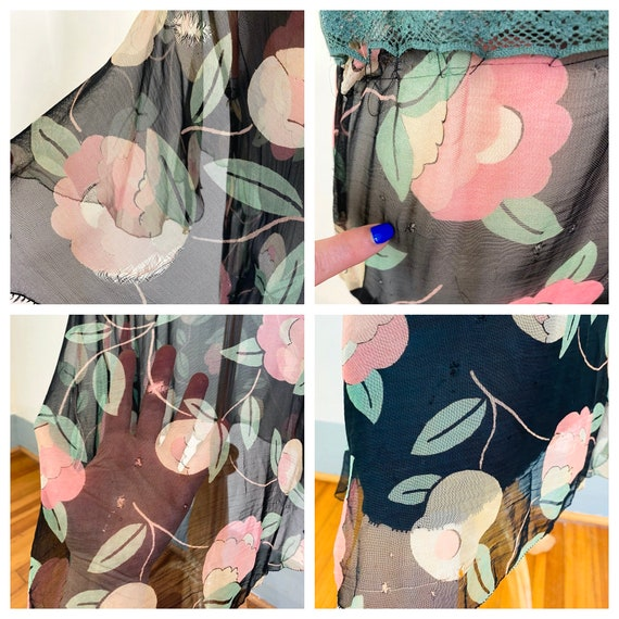 1930s floral silk chiffon dress, Vintage sheer 30… - image 10