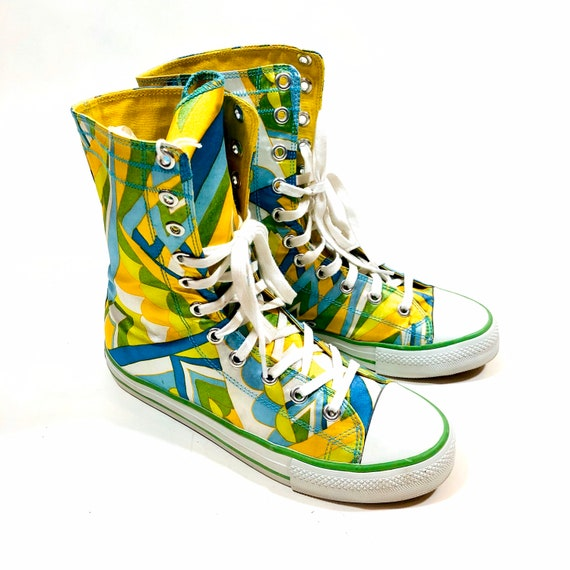 "Dollhouse ""Pucci"" Style High Top Sneakers, abstract pattern shoes, geometric print sneakers, aqua yellow blue orange, Womens size 8.5 - 9"