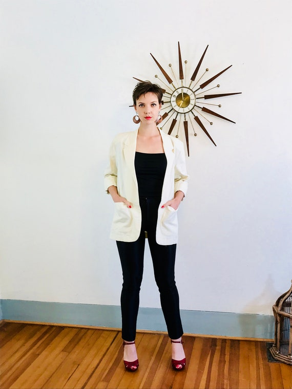 Minimalist blazer, Ivory linen jacket, Long 90s Jacket, Womens Blazer, Off White cream jacket, 80s ladies blazer, boxy 1980s jacket, Sz M