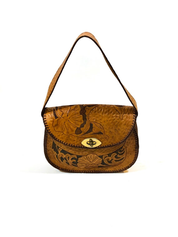 70s Vintage Tooled Leather Morning Glory Handbag 1970s Bohemian Hippie Bag,