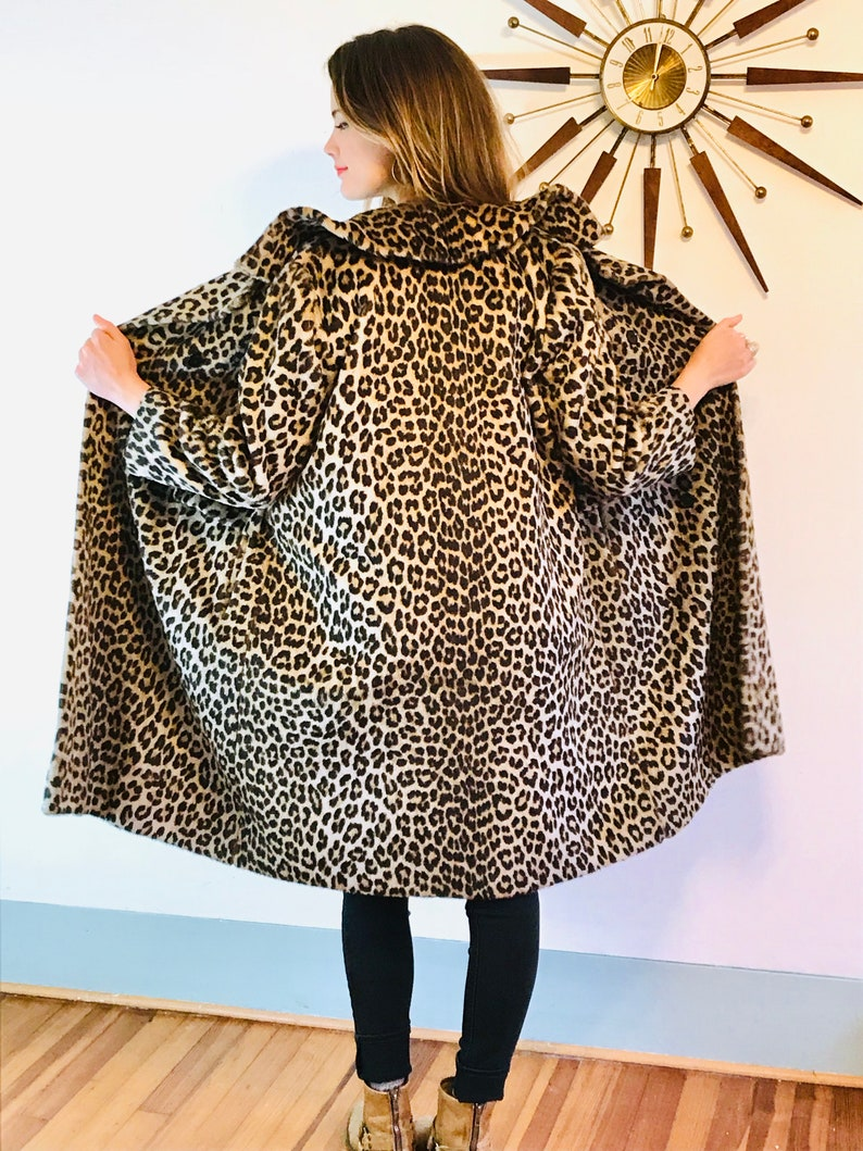 876ea4a9b931 Leopard print coat 60s Kilimanjaro coat Faux fur coat | Etsy