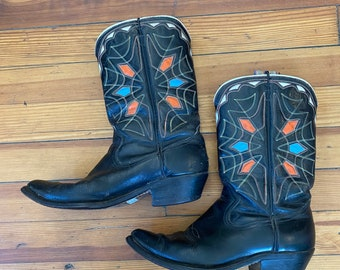 Vintage 1950s Peewee shorty Cowboy Boots, black w/ blue orange white cutout Inlay, spider web embroidered short 50s Pee Wee, Womens SZ 6.5-7