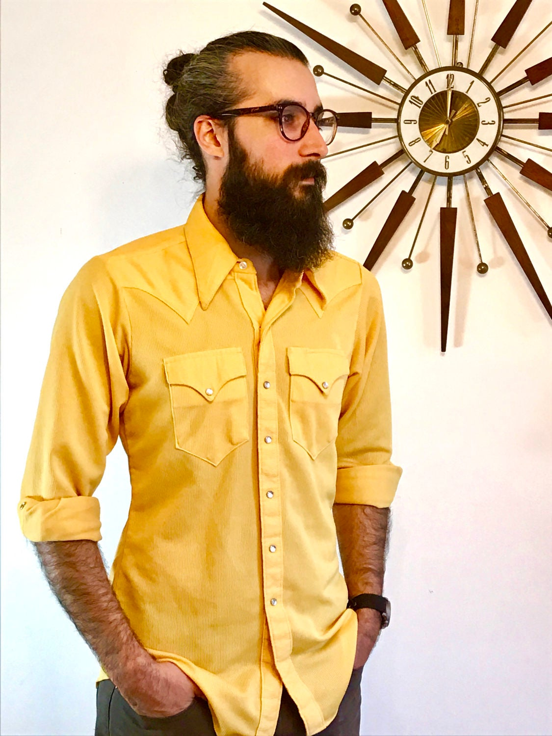 f1a98cf388 Vintage 60s Yellow Rockmount Ranch Wear Western Pearl Snap Shirt ...