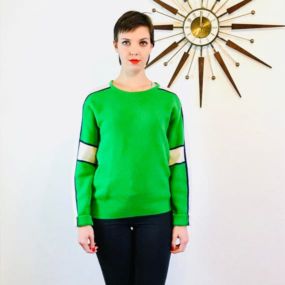 Vintage Ski Sweater, Green Stripe Sweater, 80s wool pullover, Bright green jumper, Ski racing sweater, 70s Mens ski sweater, White arm bands