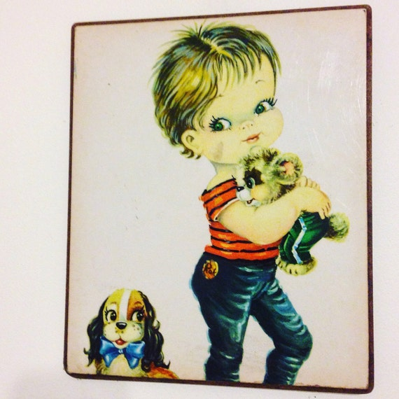 Vintage 50s print, rockabilly art, 50s wall plaque, big eyes print, retro puppies,50s kitch painting,1950s Rocker,retro home decor, big eyes