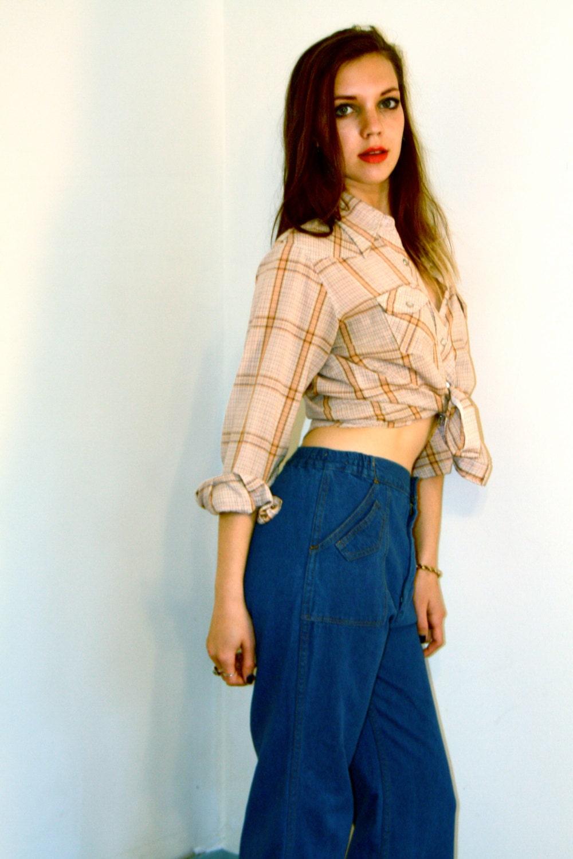 Ladies Western Blouse, 70S Plaid Shirt, Pearl Snap Blouse -8515