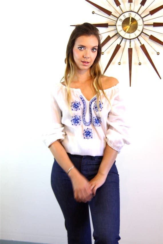 Vintage Hungarian blouse, 70s Peasant Blouse, Lon… - image 8