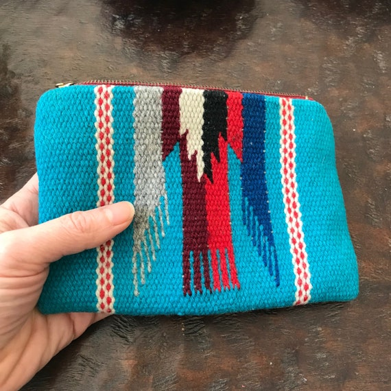 1930s Chimayo purse, Fred Harvey pouch, 40s El Grandee Native wool bag, Southwest coin purse, Chimayo pouch