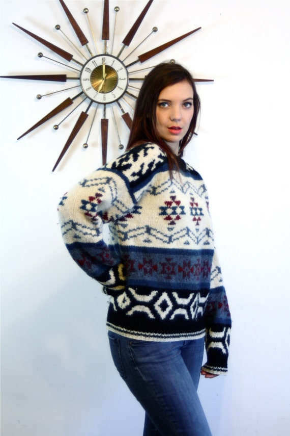 Cable Knit sweater, Nordic print Jumper, 70s 80s wool sweater, Big wool Pullover, Shetland wool, vintage ski sweater, Ethnic print sweater,