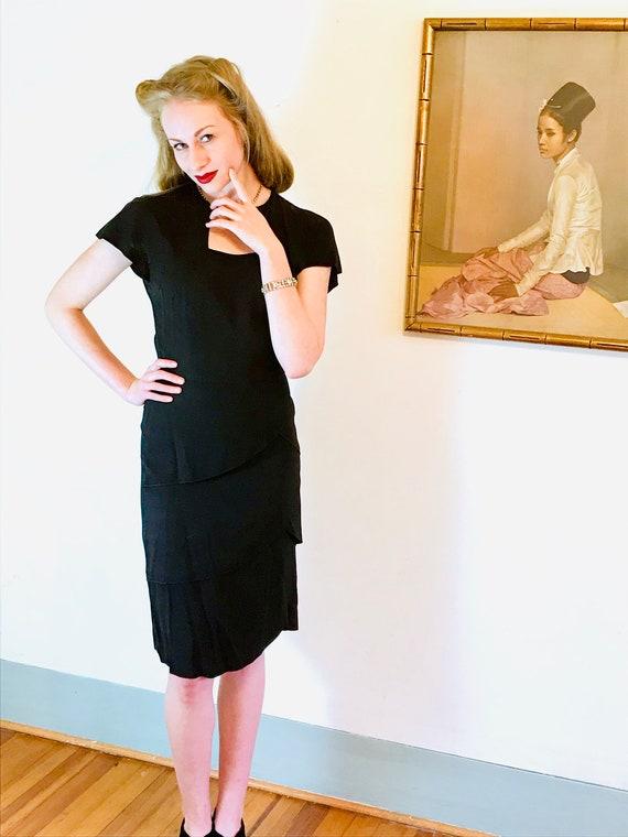 1940s Art Deco dress, Vintage 40s dress, 40s swin… - image 5