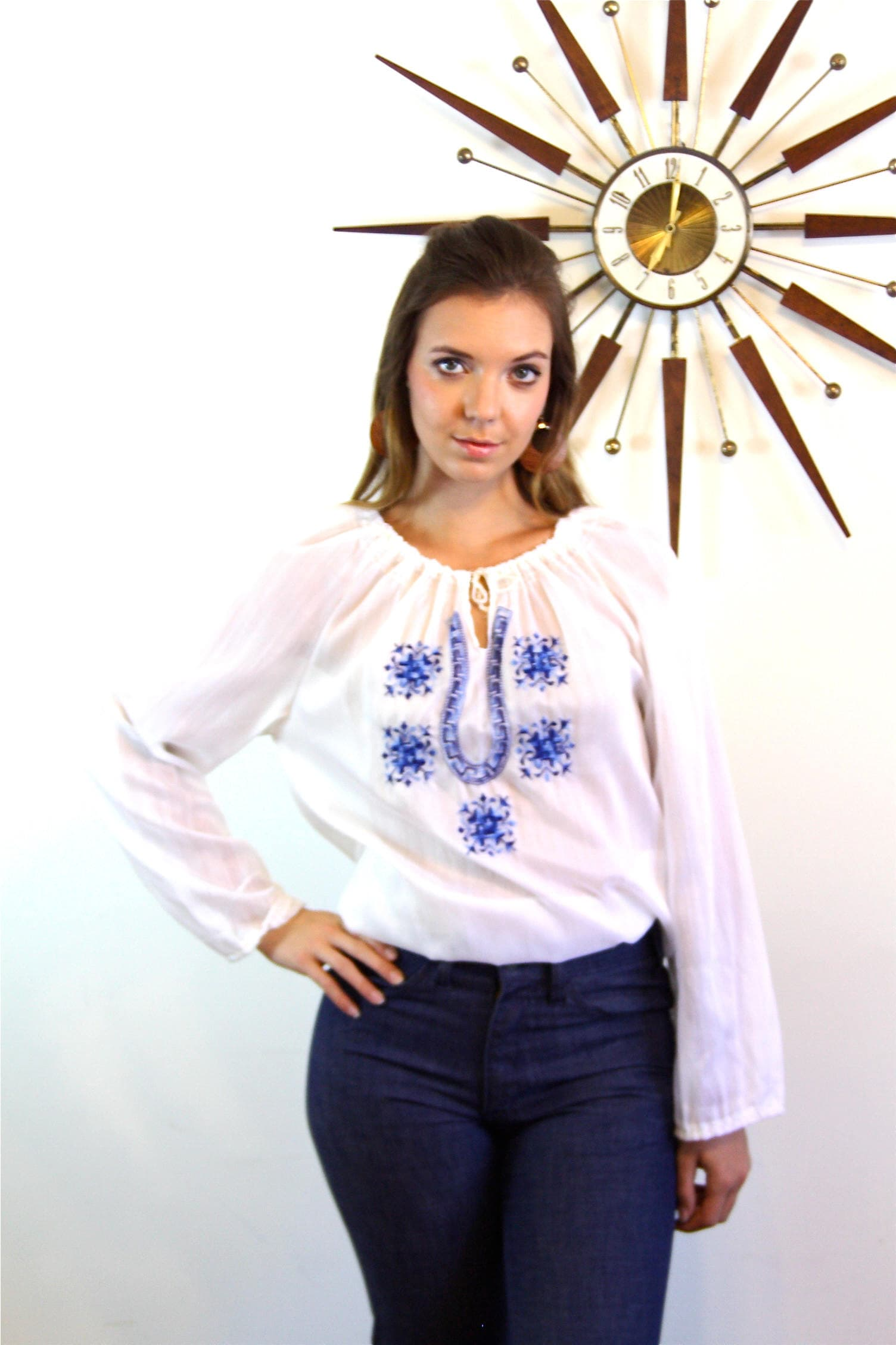 Hungarian Blouse 70s Peasant Blouse Long Sleeve Gypsy Blouse