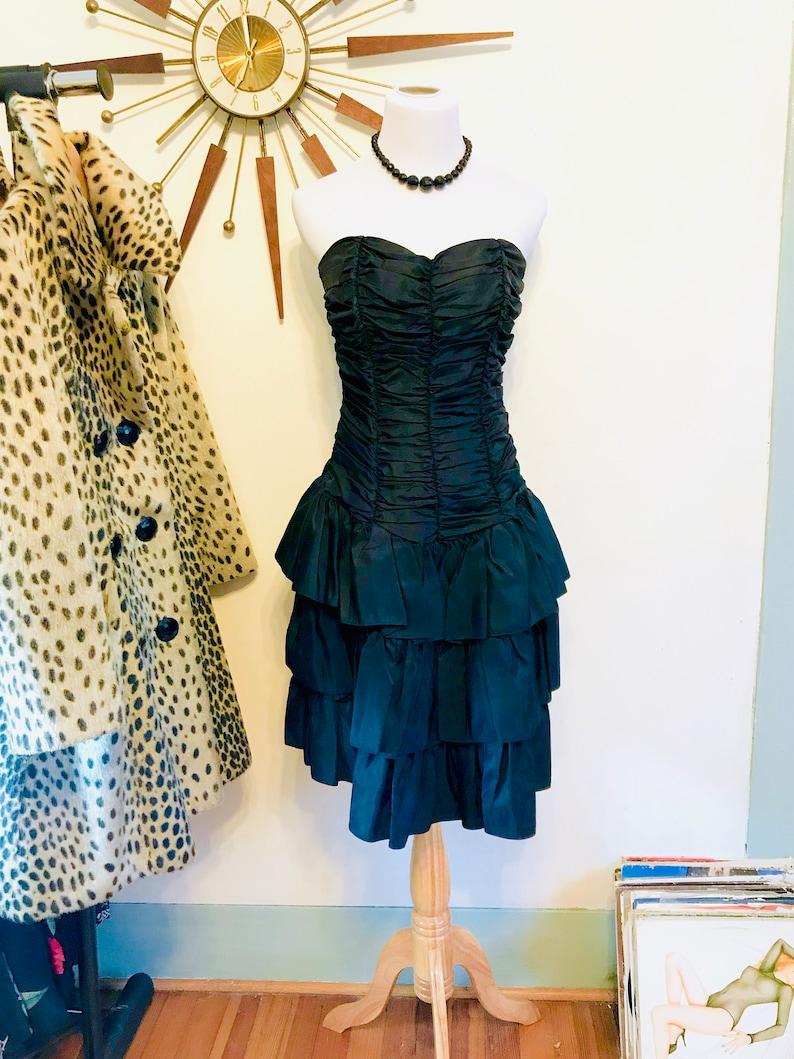 ce0edc078b7c Vintage black taffeta dress 80s prom dress Layered ruffle | Etsy