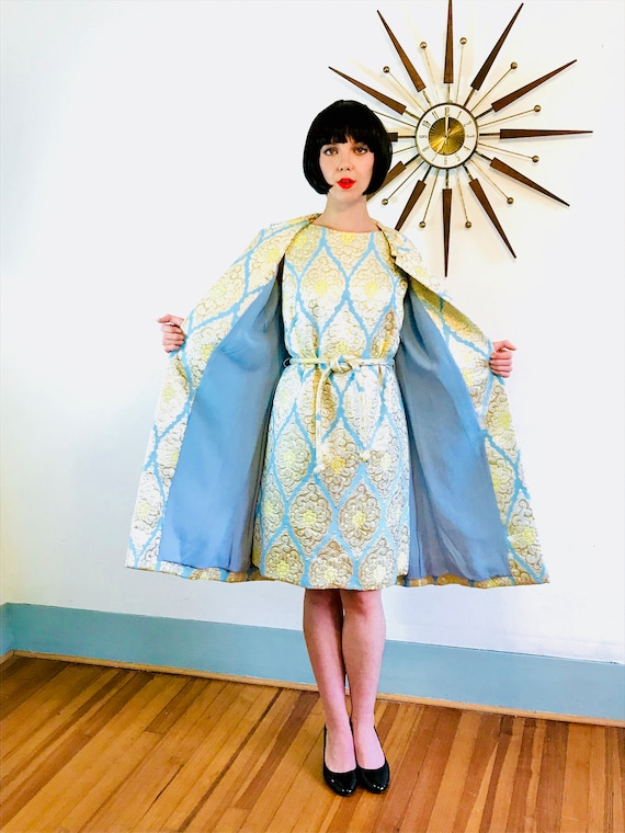 1960s Brocade Dress, 60 Dress Coat Set, Metallic Mod dress, Cocktail Party, Two Piece Outfit, Gold Silver Aqua, Mad Men, Fancy evening wear